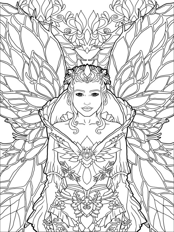 magical unicorn coloring pages - beautiful magical unicorn and fairies coloring page