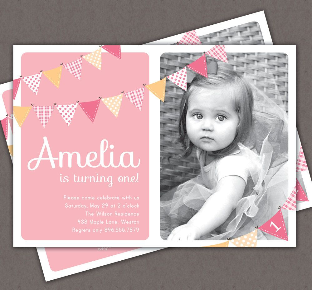 First birthday invitation bunting flags banner photo printable first birthday invitation bunting flags banner photo printable invite 1 year old or 2 year filmwisefo Images
