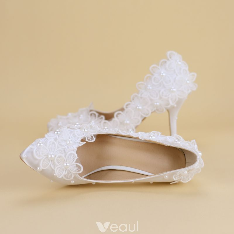 Affordable White Wedding Shoes 2019 Lace Flower Pearl 8 Cm Stiletto Heels Pointed Toe Wedding Pumps Wedding Shoes Wedding Heels Wedding Shoes Bride