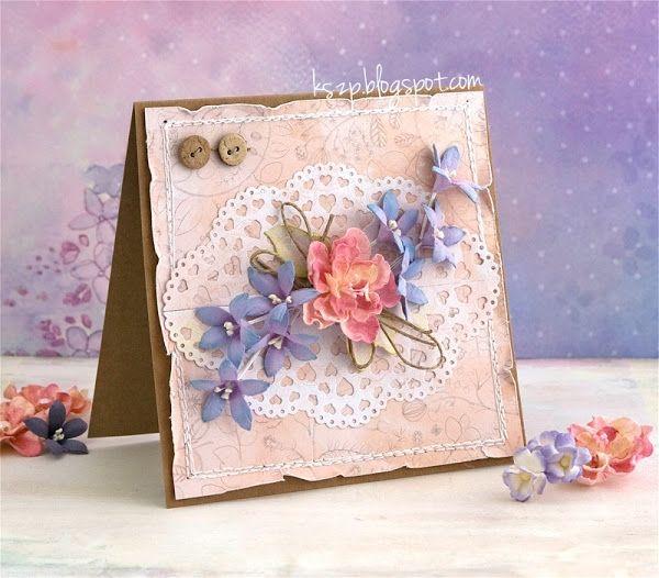 Подарок, открытка с цветами скрапбукинг мастер