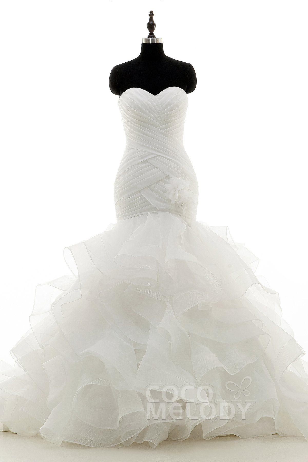 Photo of [ USD$ 699 ] Trumpet-Mermaid Court Train Organza Wedding Dre…