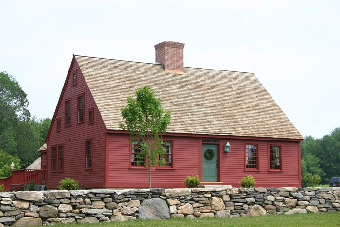 Exterior of cape house with center chimney lots of small for Small cape cod house plans