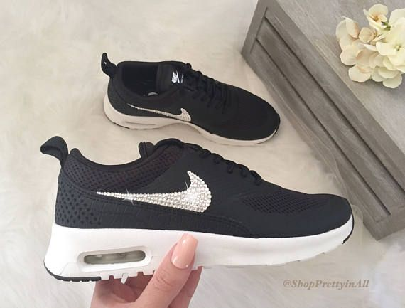 sports shoes 04ca2 a06e5 Bling Nike Air Max Thea Shoes with Classic Silver Swarovski Crystals