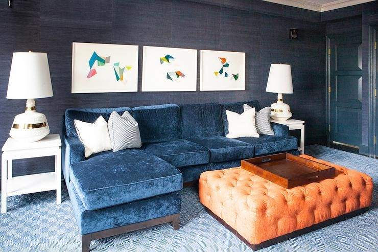 Blue Velvet Sofa With Chaise Lounge With Orange Tufted Ottoman Contemporary Living Room Interior House Colors Contemporary Blue Sofas Living Room Orange