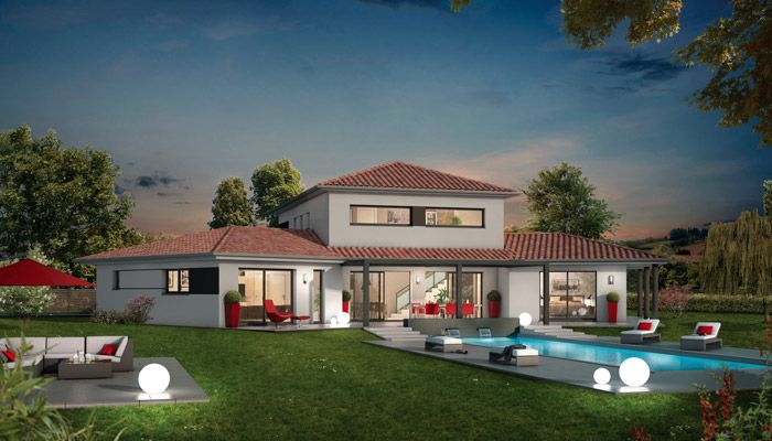 Maison contemporaine Ambre - vue nuit Maison contemporaine - construire sa maison 3d