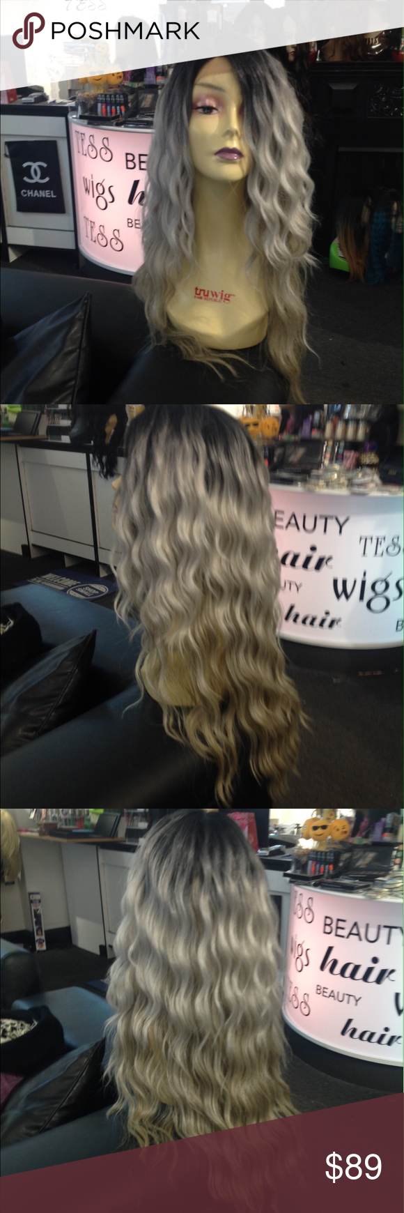 Ombre Black Roots Silver Beach Wave New Long Heat Resistant Adjule Cap Wig Beautiful Waves Super 30 32 Inch Soft Silky Too The