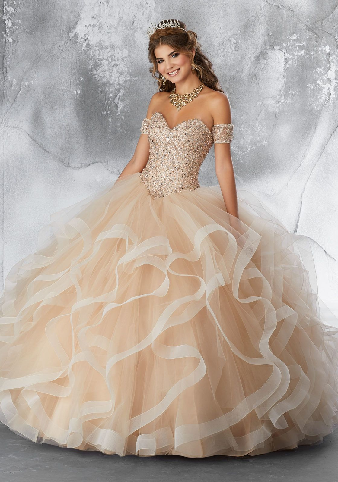 Crystal Beaded Lace Bodice on a Flounced Tulle Ball Gown