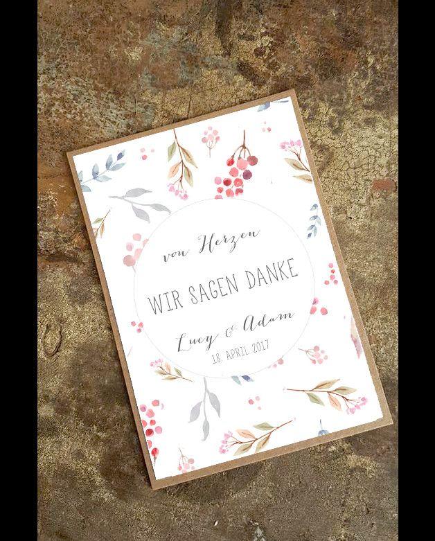 einladungskarten - dankeskarte hochzeit diy - 10er set