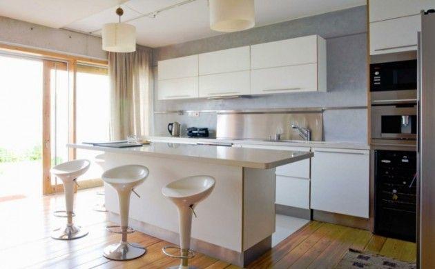 wohnideen küche moderne kücheninsel barhocker hängelampen Küche - miele k chen einbauger te