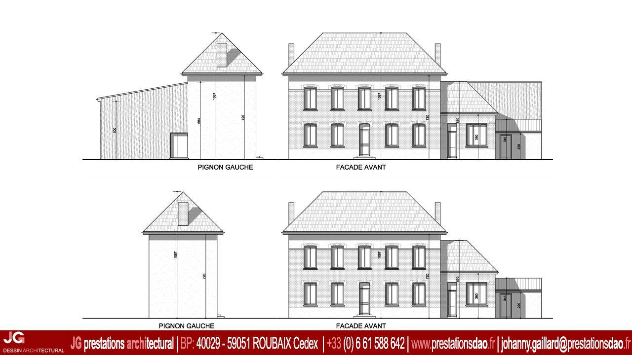 jg dessin architectural fa ades sur rue pour le permis. Black Bedroom Furniture Sets. Home Design Ideas
