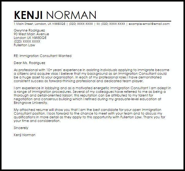Sample Of Letter For Immigration New Immigration Consultant Cover Letter Sample Cover Letter Template Professional Cover Letter Template Cover Letter Sample