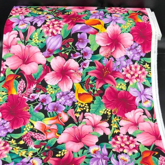 Floral Fabric / 100% Cotton Fabric / Tropic Floral Fabric LARGE print  / Island-C5436 / Timeless Tre