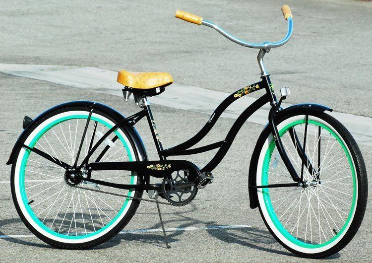 J Bikes Chloe Women S 26 Beach Cruiser Bike Black Mint Green