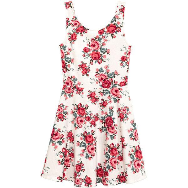 Sleeveless dress $14.99 (8.175 CRC) via Polyvore featuring white flared skirt, skater skirts, circle skirt, white jersey y floral skater skirt