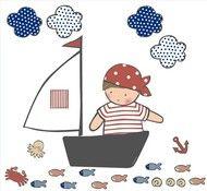 Vinílo infantil personalizable - Pirata en su barquito