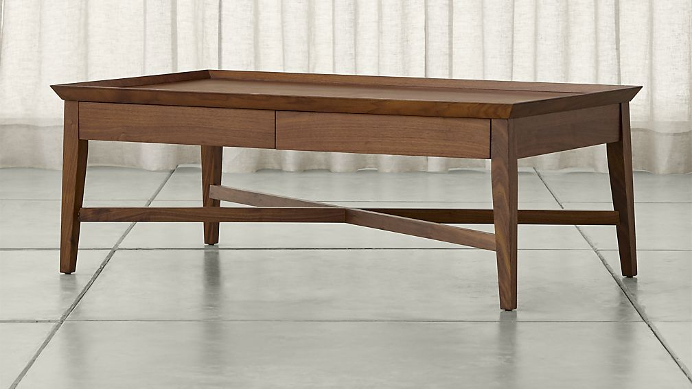 Bradley Walnut Coffee Table with Drawers Crate and Barrel