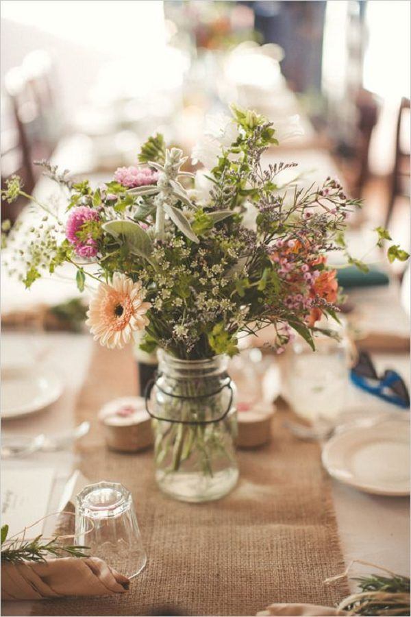 Rustic Wild Flowers In Mason Jar Burlap Wedding Ideas Deerpearlflowers With Touches 2