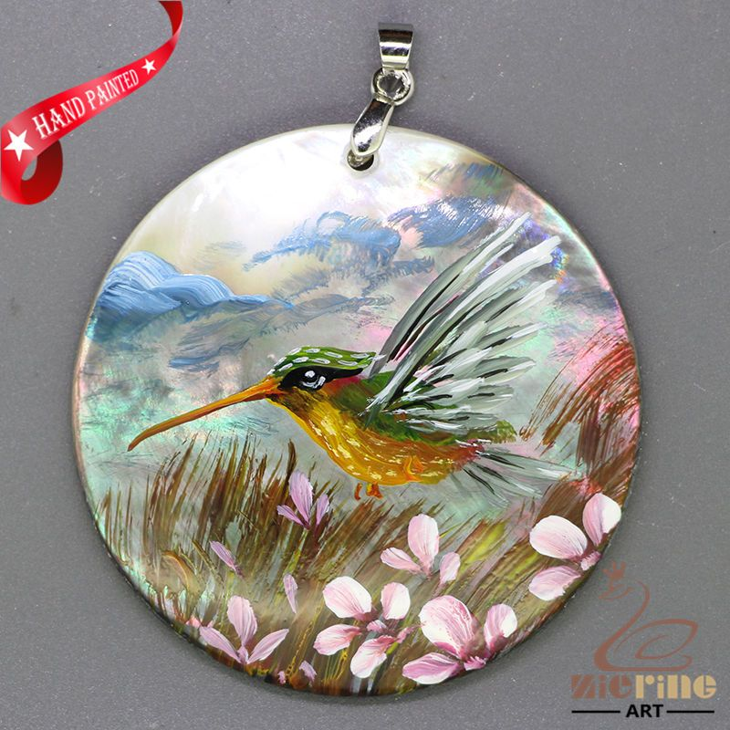 JEWELRY NECKLACE HAND PAINTED HUMMINGBIRD SHELL PENDANT ZL3005042 #ZL #Pendant
