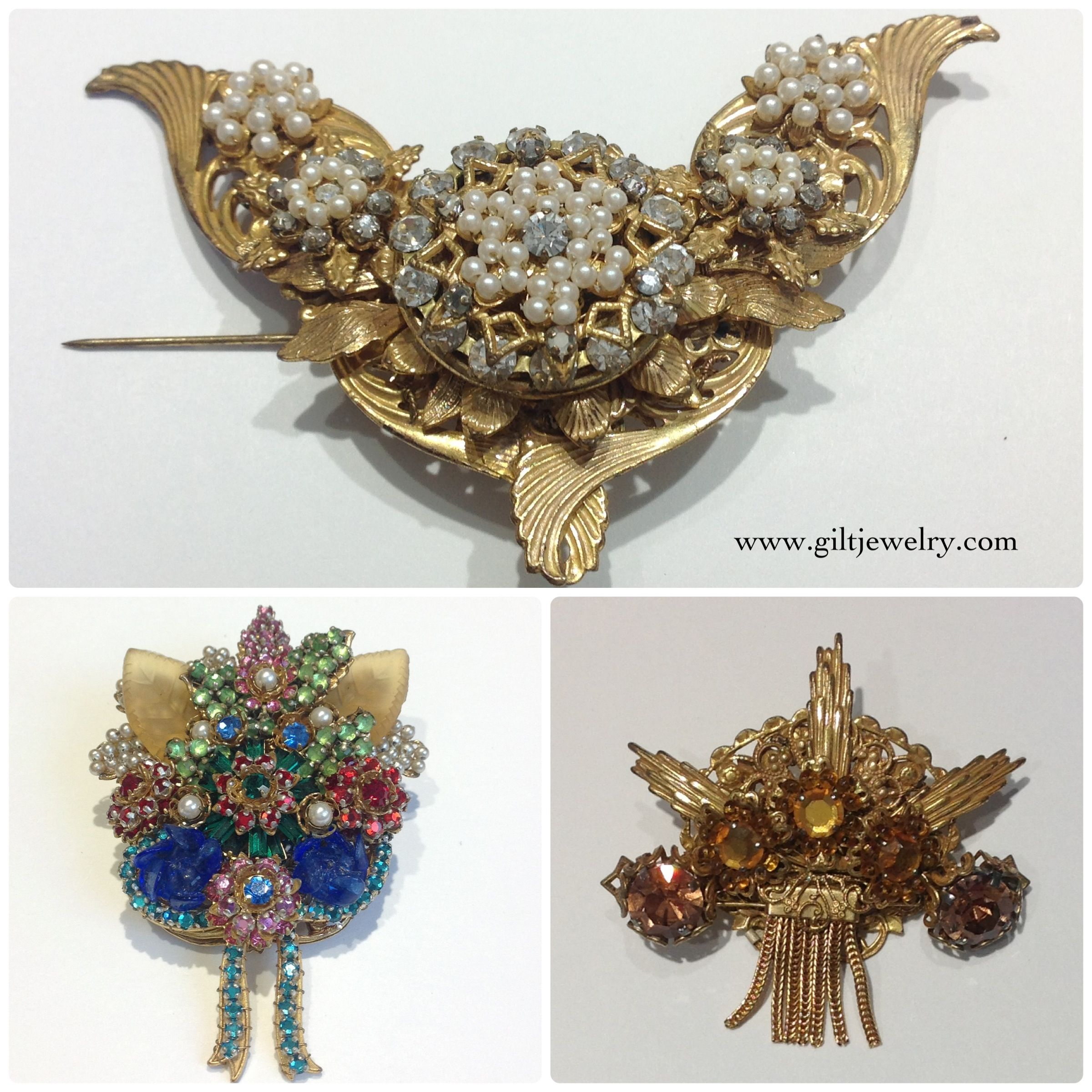 A collection of 1960s brooches by famed New York costume jewelry