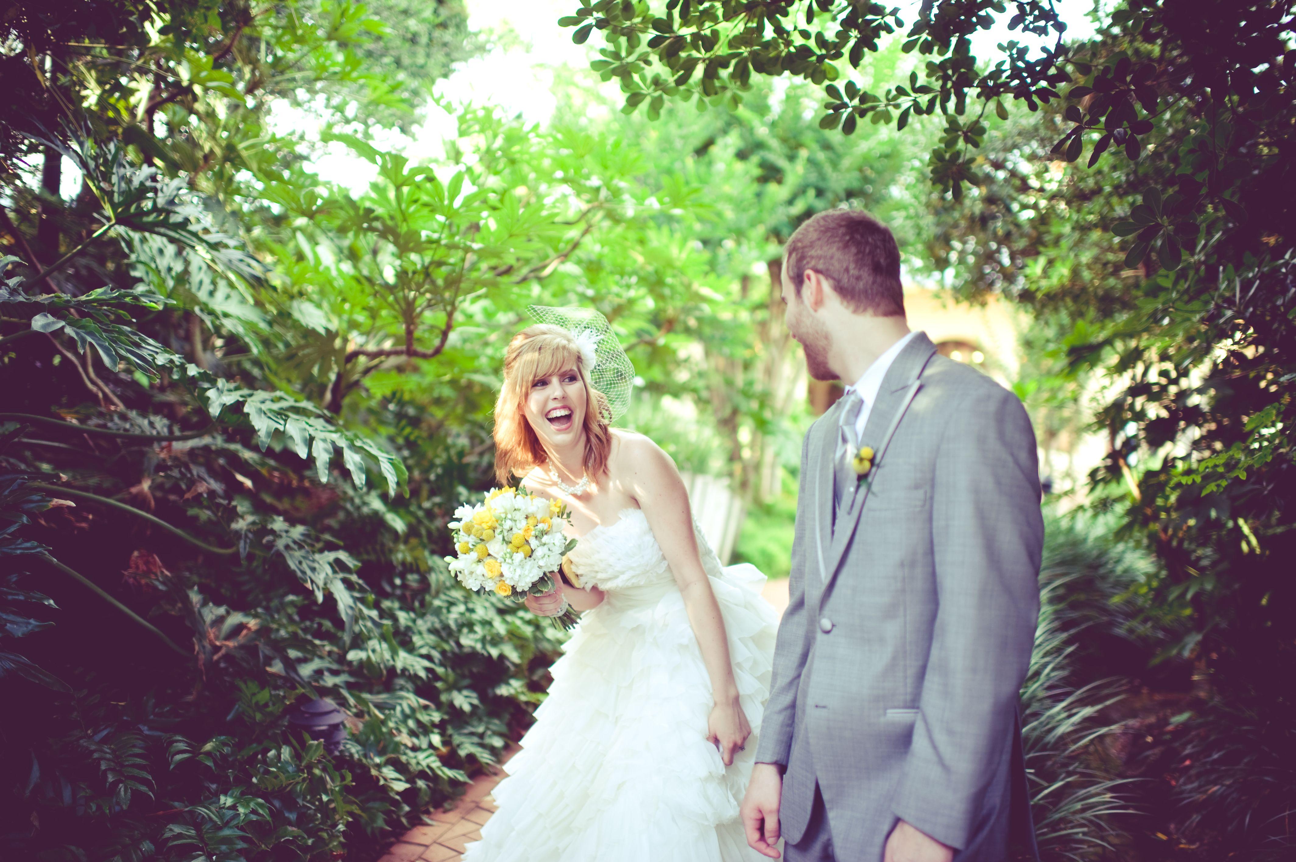 first look husband wife wedding greyandyellow