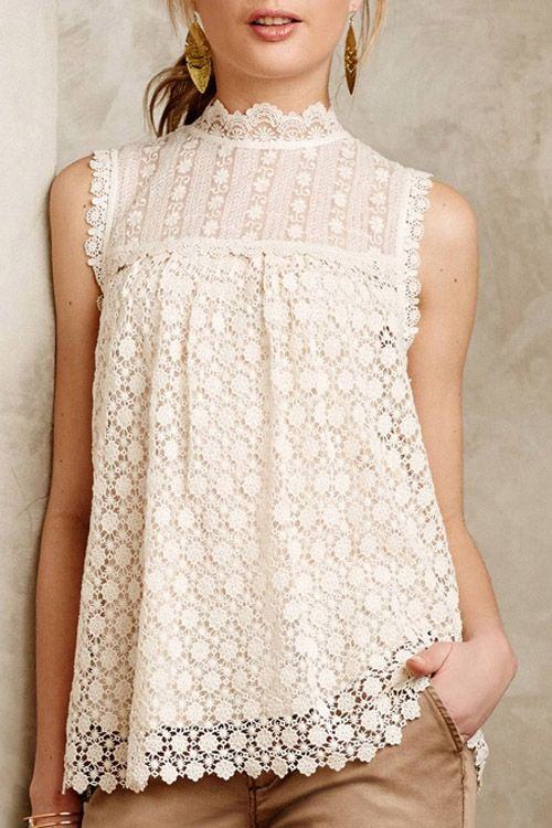 248437f1fdd06 Solid Color Lace Sleeveless Blouse