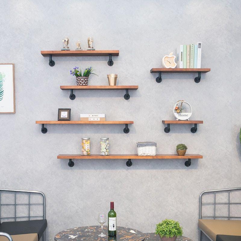 La pared de la tubería de agua estante del almacenaje de madera maciza una  pieza de la tablilla de libros decorativos estante casa mueble estante para  libros Es… en 2021   Estantes de