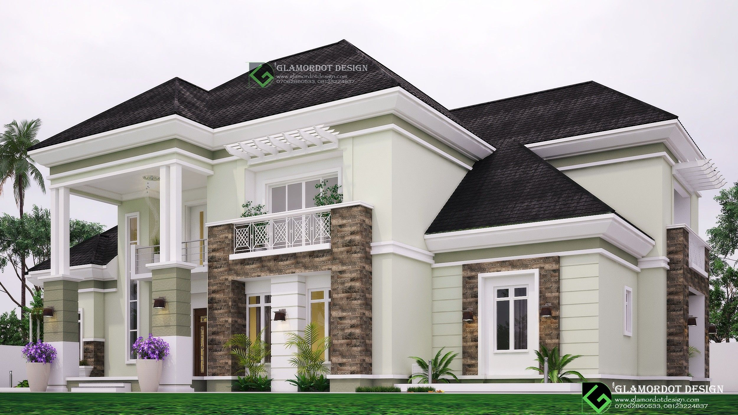 Architectural Design Of A Proposed 5 Bedroom Bungalow With Penthouse On A Plot Of 100ft By 100ft Hamptons House Exterior Facade House Beautiful House Plans