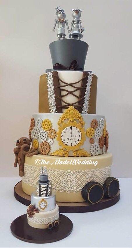 Steampunk wedding cake and keepsake cake by The Model Wedding