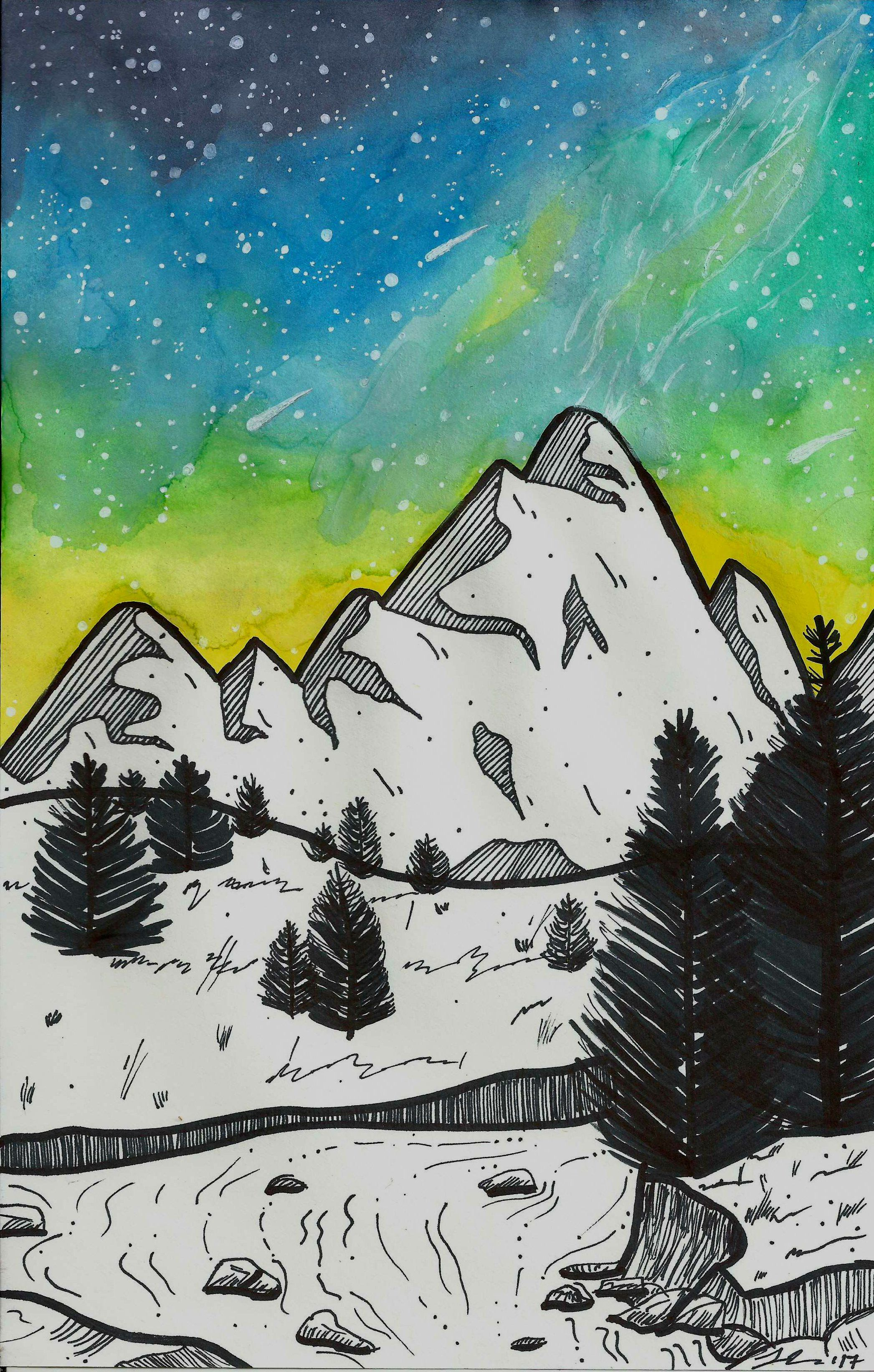 Mountain Art Print Watercolor Galaxy Ethereal Art In 2020
