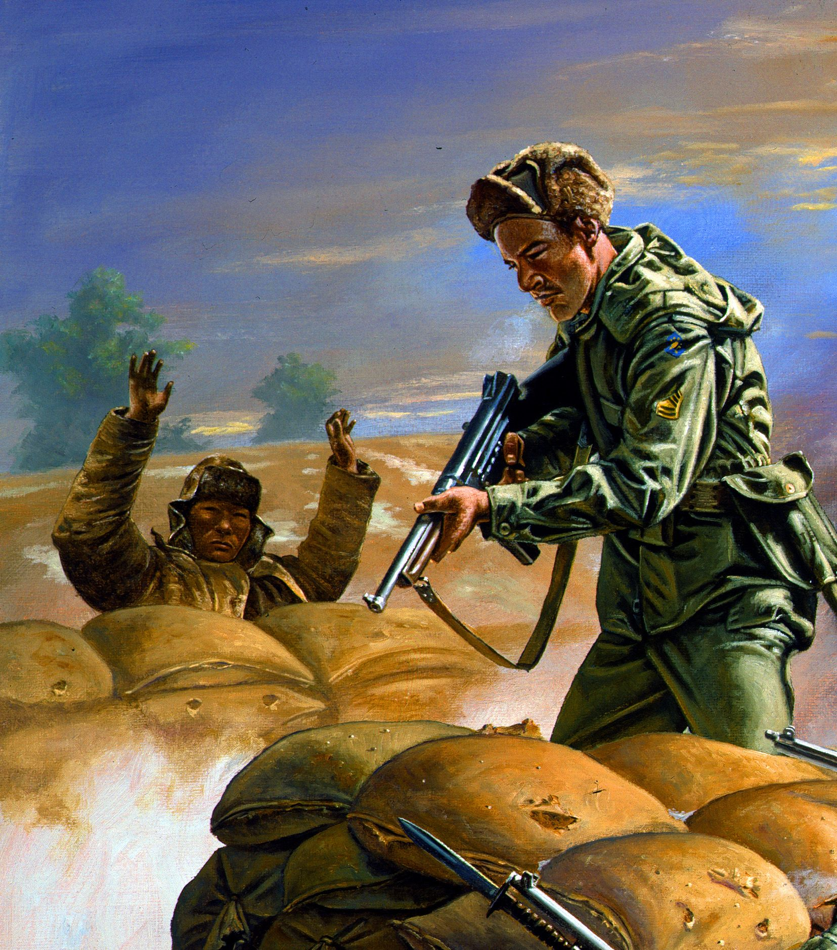 11cfabe113 US troops overrunning a Chinese trench in Korea | Korean War Art ...