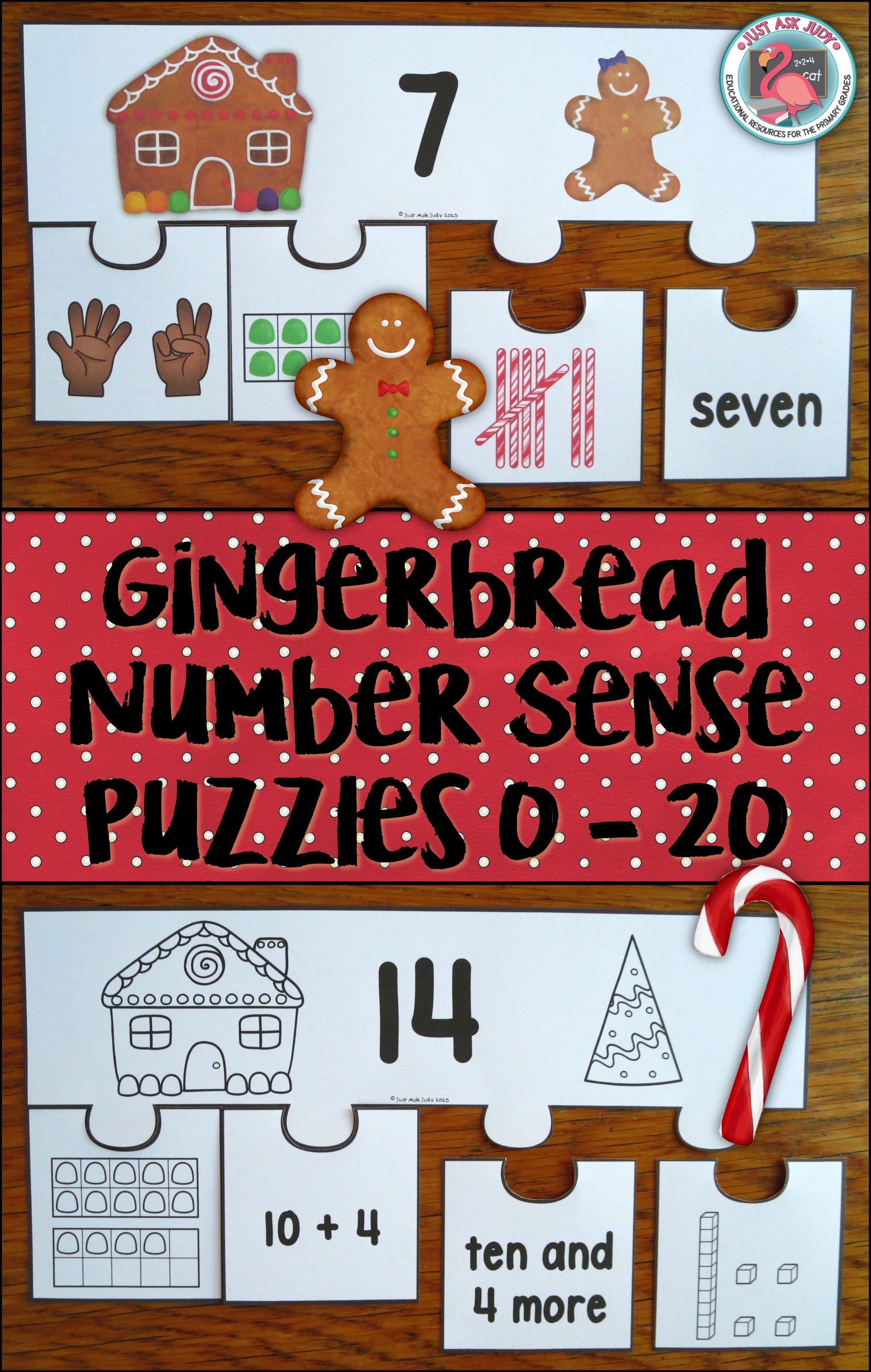 Number Sense 0 20 Gingerbread Puzzles