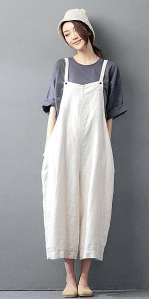 BEIGE COTTON LINEN CASUAL LOOSE OVERALLS BIG POCKET MAXI SIZE TROUSERS FASHION JUMPSUIT #casualjumpsuit