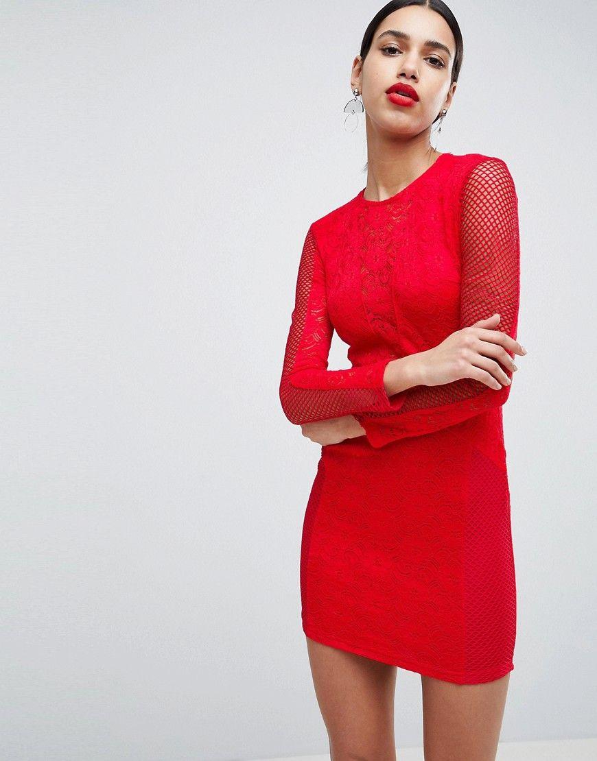AX Paris - Figurbetontes Spitzenkleid - Rot Jetzt bestellen unter ...