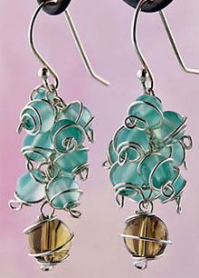 Coiled wire bead earrings, Beading Daily-pattern