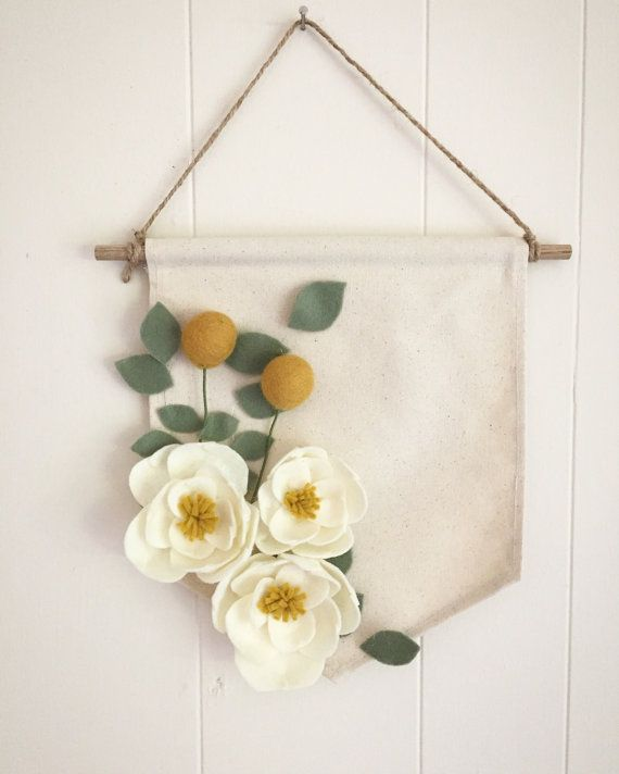 Large Magnolia, Eucalyptus, and Billy Ball Felt Flower Canvas Banner ... d7546576900