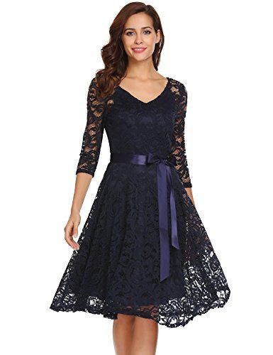 11b66bda02a ANGVNS Women s 3 4 Sleeve Lace Floral Elegant Cocktail Dr... https