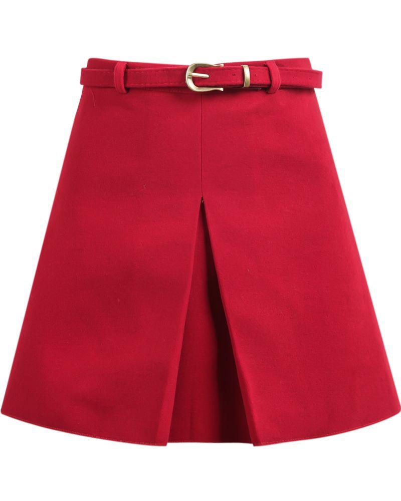 Falda de lana plisada A Line-rojo  3cac62b5c218