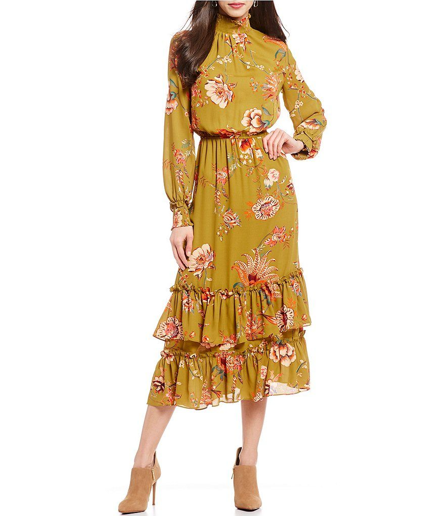 2f5ab808355 Gibson   Latimer Floral Print Bishop Sleeve Mock Neck Tiered Ruffle Hem  Midi Length Blouson Dress