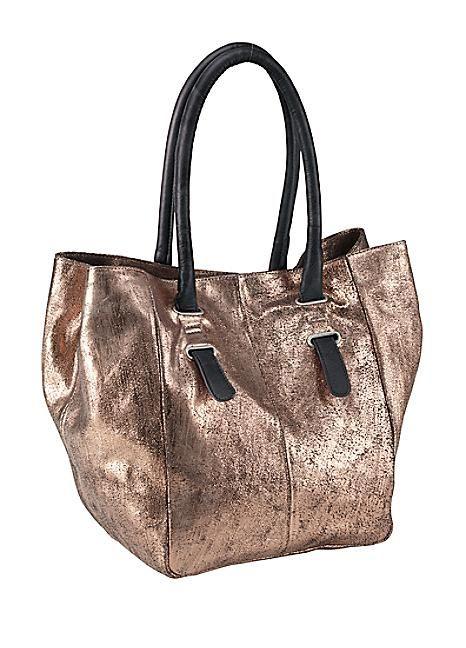 Leather Heine Metallic Handbag