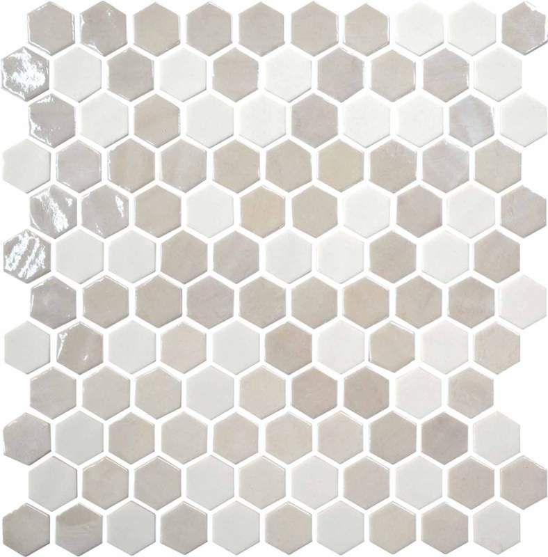 View The Daltile Up17 1hexms1p Glass Alabaster Mesh Mounted