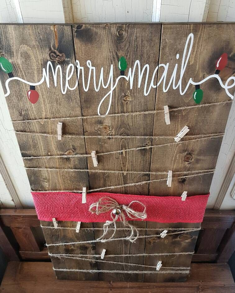Merry Mail painted Christmas card holder! Rustic Christmas card ...