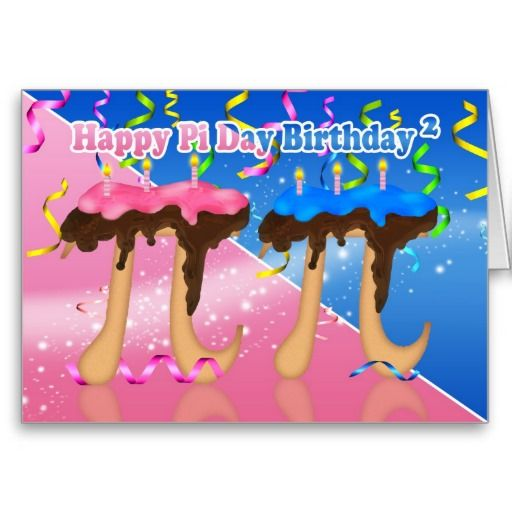 Twins Birthday Cake Pi Day 314 March 14th Card Twin birthday