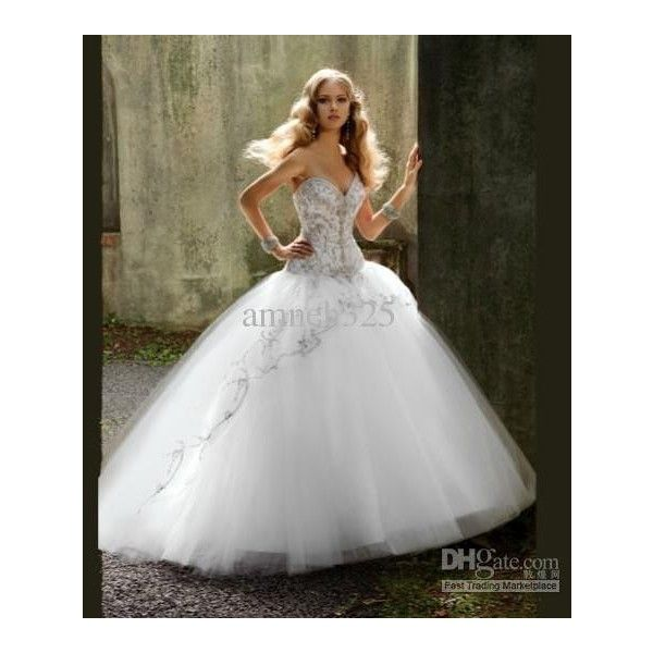 Wholesale Luxurious bridal Cathedral strapless Sweetheart Wedding... ❤ liked on Polyvore