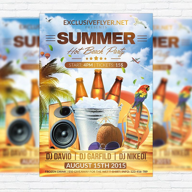 Summer Hot Beach Party - Premium Flyer Template + Facebook Cover - beach party flyer template