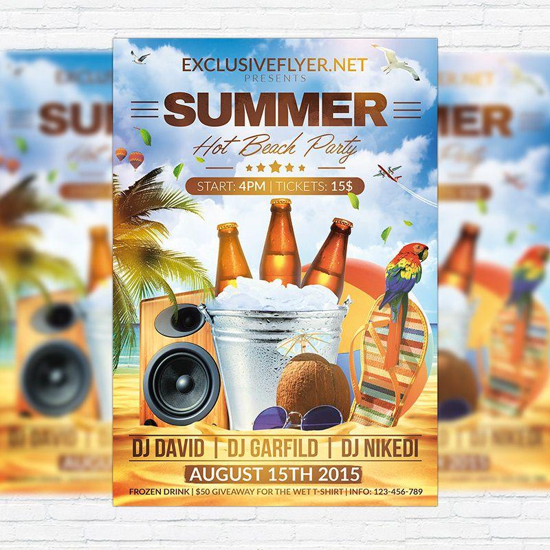 Summer Hot Beach Party - Premium Flyer Template + Facebook Cover ...