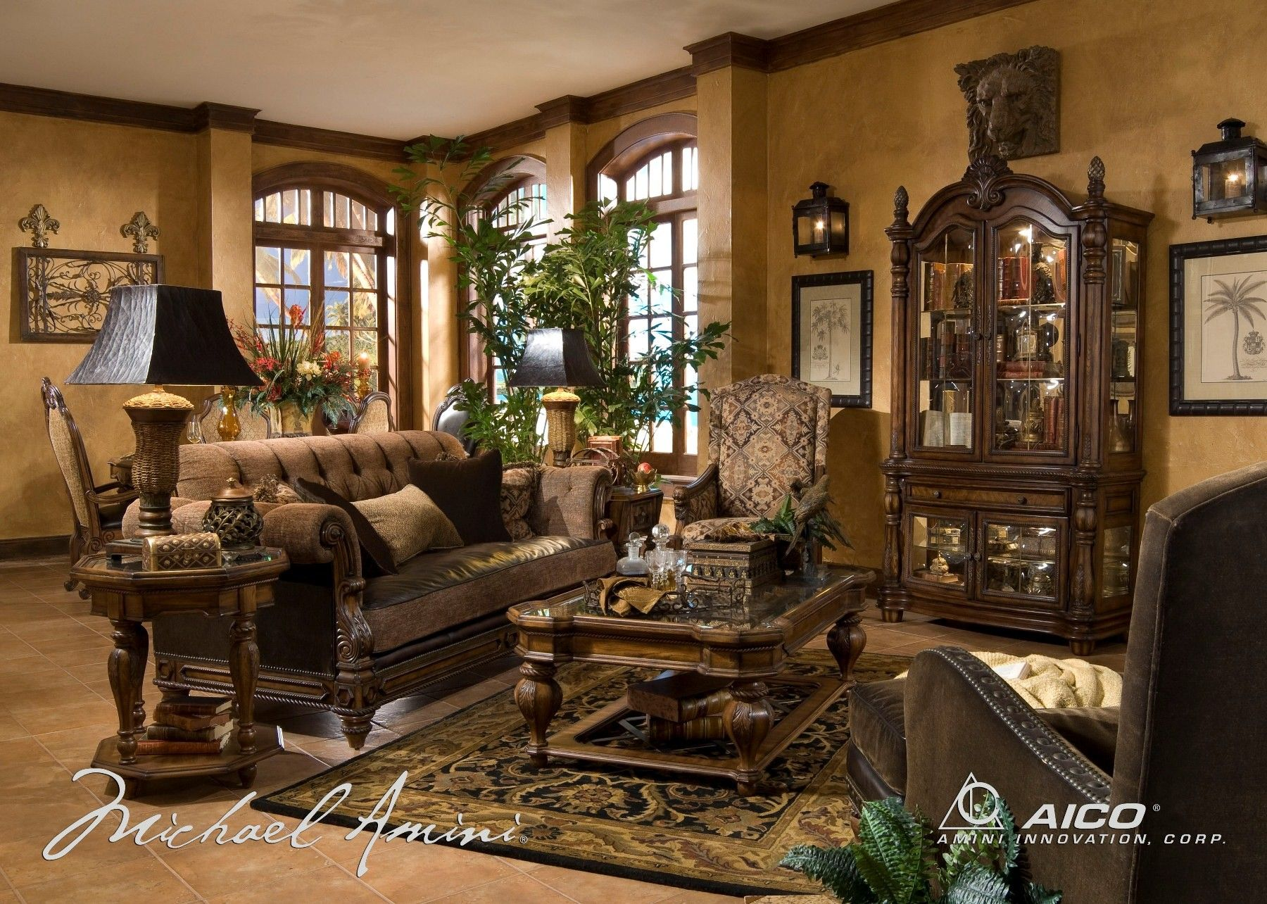 traditional leather living room furniture. Living Room Furniture Sets | Home / Vizcaya Leather Set - Aico Traditional T