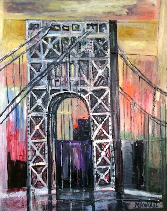 George Washington Bridge Bridge Painting George Washington Bridge Nyc Skyline