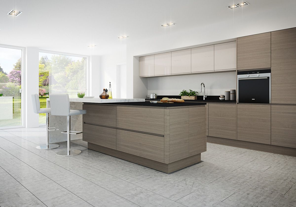 This mix of cashmere light cream warm grey units create for Cashmere kitchen units