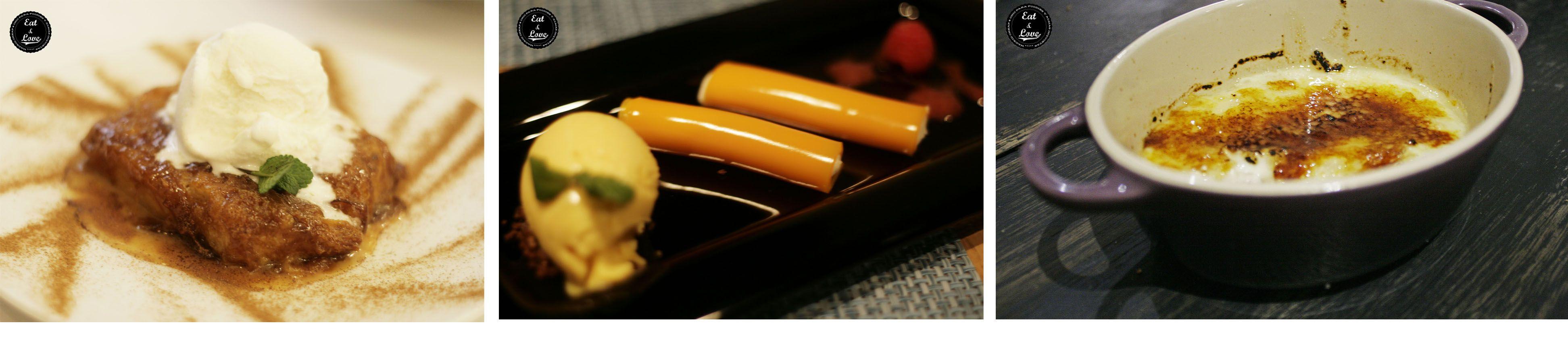 La T Gastrobar, canelones de mango rellenos de crema de queso, Triciclo por arroz con leche con costra de caramelo, El Apartamento por torrija de brioche con helado de nata - Restaurantes Madrid