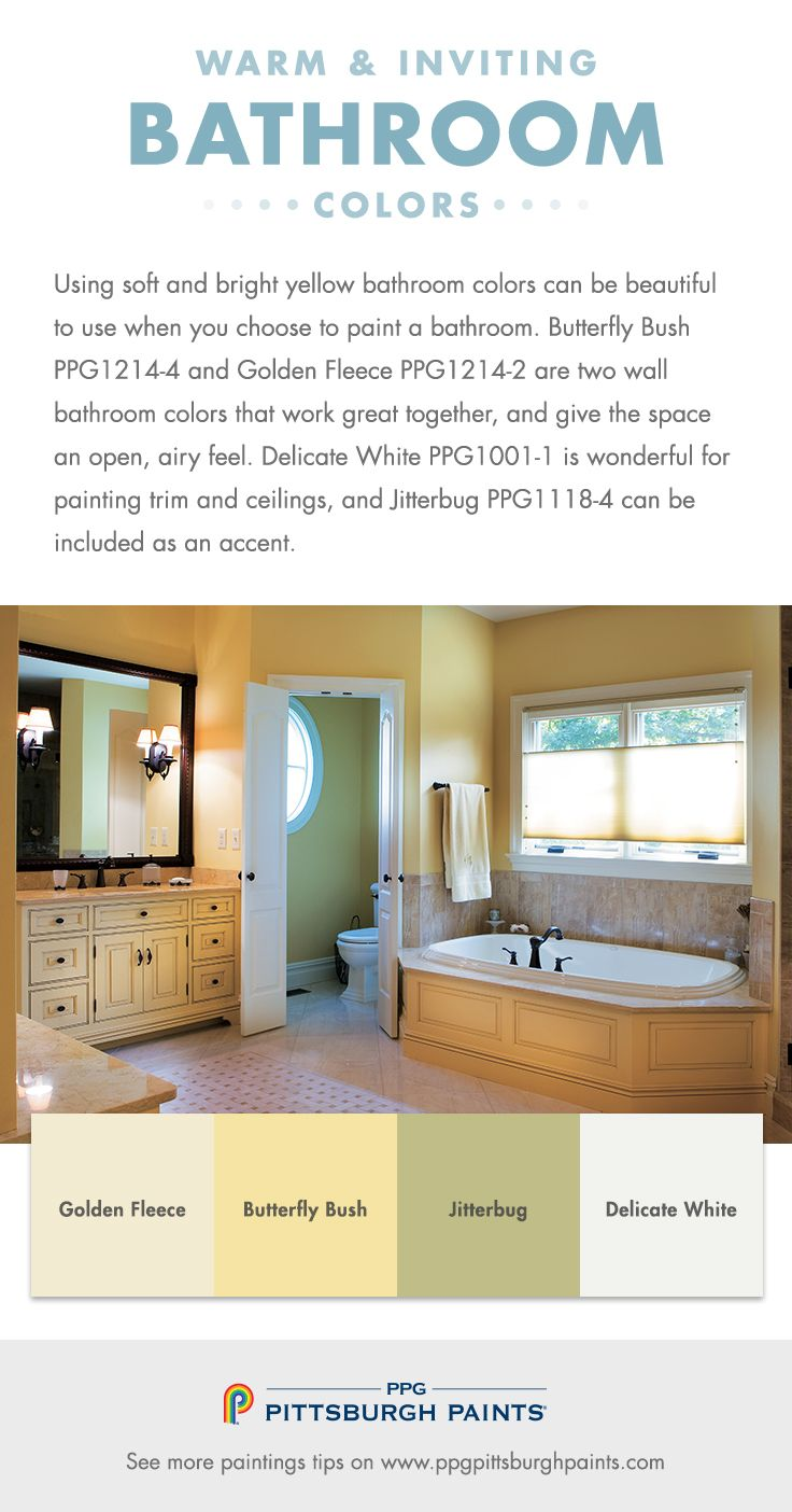 Warm Inviting Paint Colors For Bathrooms Using Soft And Bright Yellow Bathroom Can